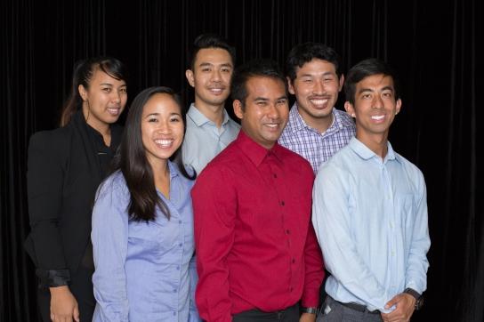 Back row: Linna Sok (left side), Daro Huot (center), Sereywath Keng (right side). Front row: Darlene Ly (left side), Sambo Sak (center), Johnny Sok (right side).